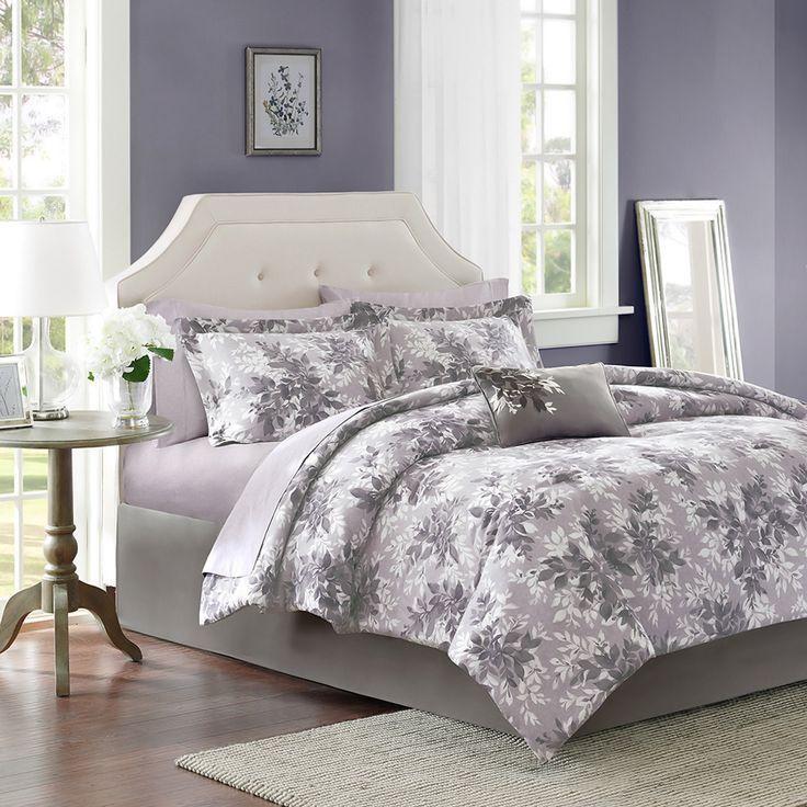 Beautiful 9pc modern black grey white lavender floral leaf branch comforter  set. 17 Best ideas about Lavender Grey Bedrooms on Pinterest   Grey