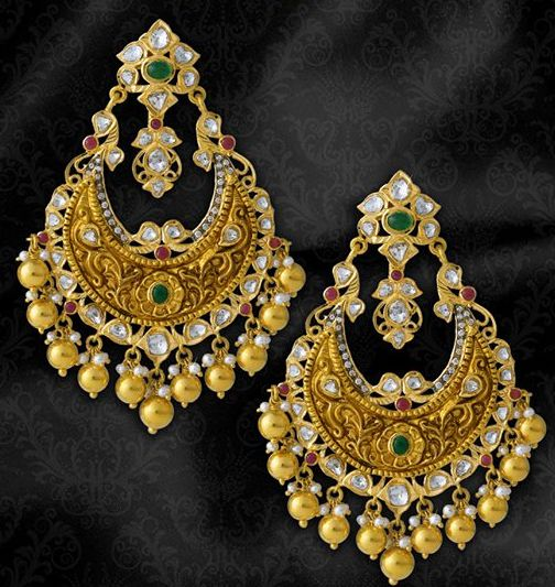 chand bali this is so beautiful a golden within different colors jewellery