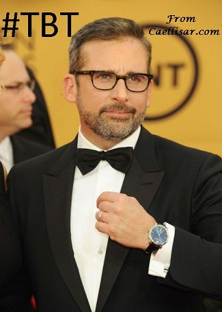 At the 21st Annual Screen Actors Guild Awards in 2015, Steve Carell looked amazing.  He wore a Harry Winston Midnight Timepiece 42mm Automatic with Blue Dial along with Harry Winston Diamond and 18K White Gold Cufflinks.