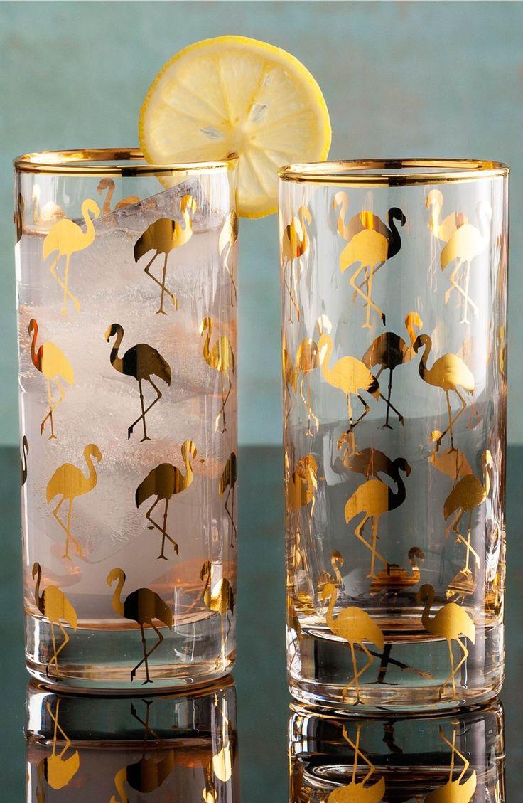 Main Image - Rosanna Flamingo Highball Glasses (Set of 4)