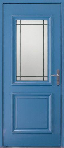 Porte aluminium, Porte entree, Bel'm, Classique, Poignee plaque gris decor bel'm, Mi-vitree, Double vitrage sable, Isaac
