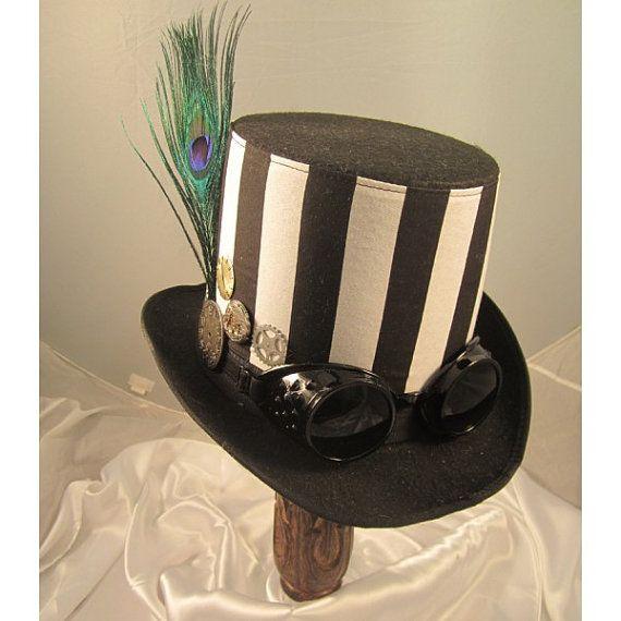 STEAMPUNK TOP HATS, Steampunk Store,Steampunk Wedding, Black, Felt, Goggles, Clock Parts, Stripes, Feathers