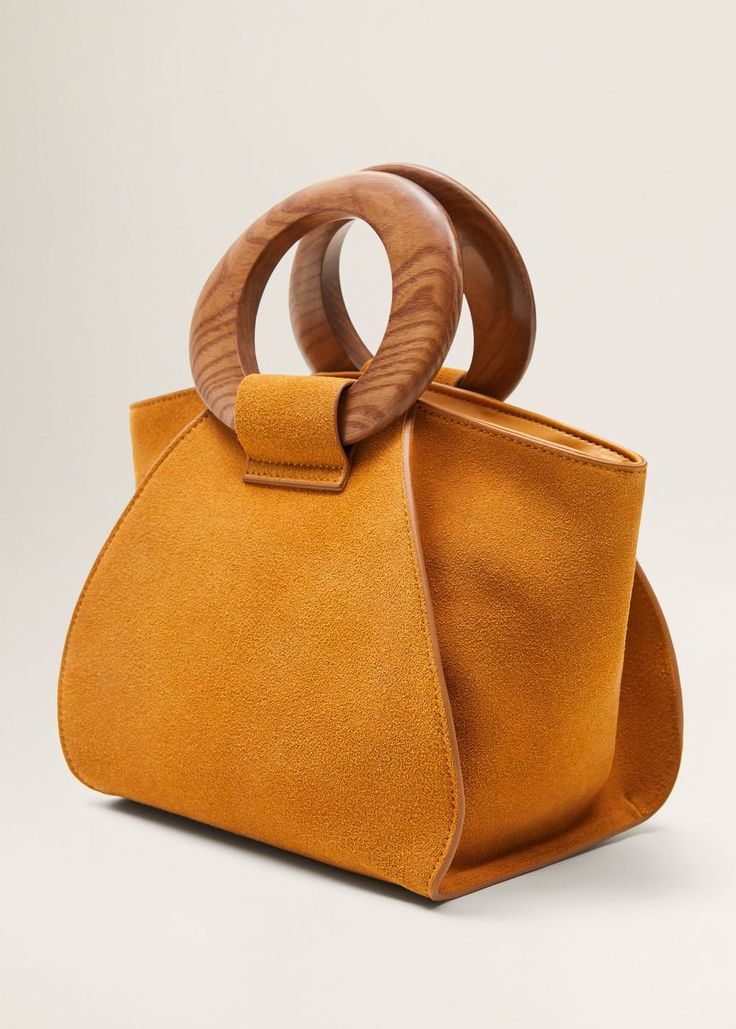 Wooden handle leather bag – Women | MANGO USA