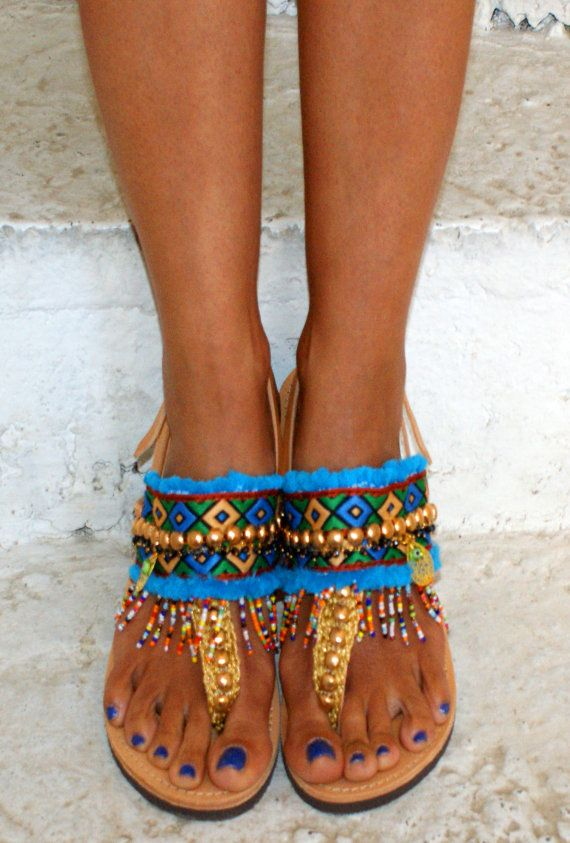 Leather sandals/ T strap sandals/ Boho flats/Ethnic by magosisters
