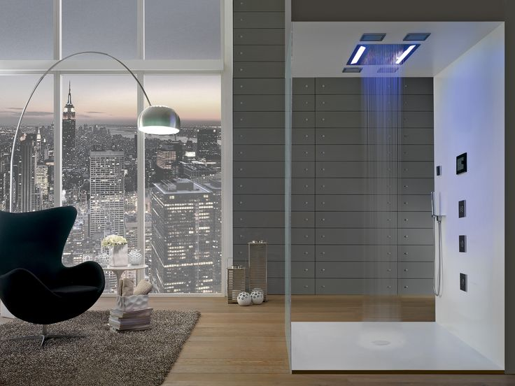 A truly unique experience, the Aqua-Sense shower system creates a very intense central rainfall effect while the soothing RGB LED lights change color