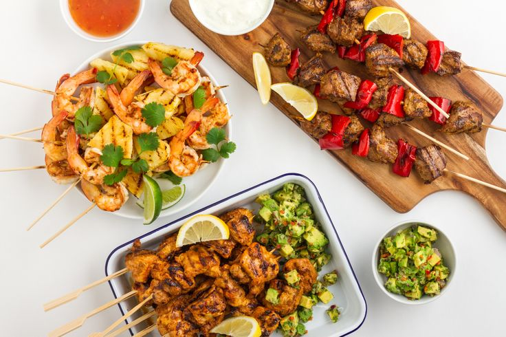Delicious grilled skewers… times three! I know my BBG girls love to see healthy recipes and to read tips for eating healthy at a barbeque, or when you have friends over. So here's a few healthy recipe ideas you can use for your next get-together!