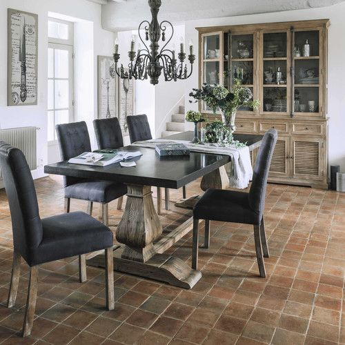 Table de salle manger en m tal et bois recycl l 240 cm for Table maison du monde d occasion