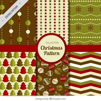 шаблоны Рождество старинные набор в плоском дизайне