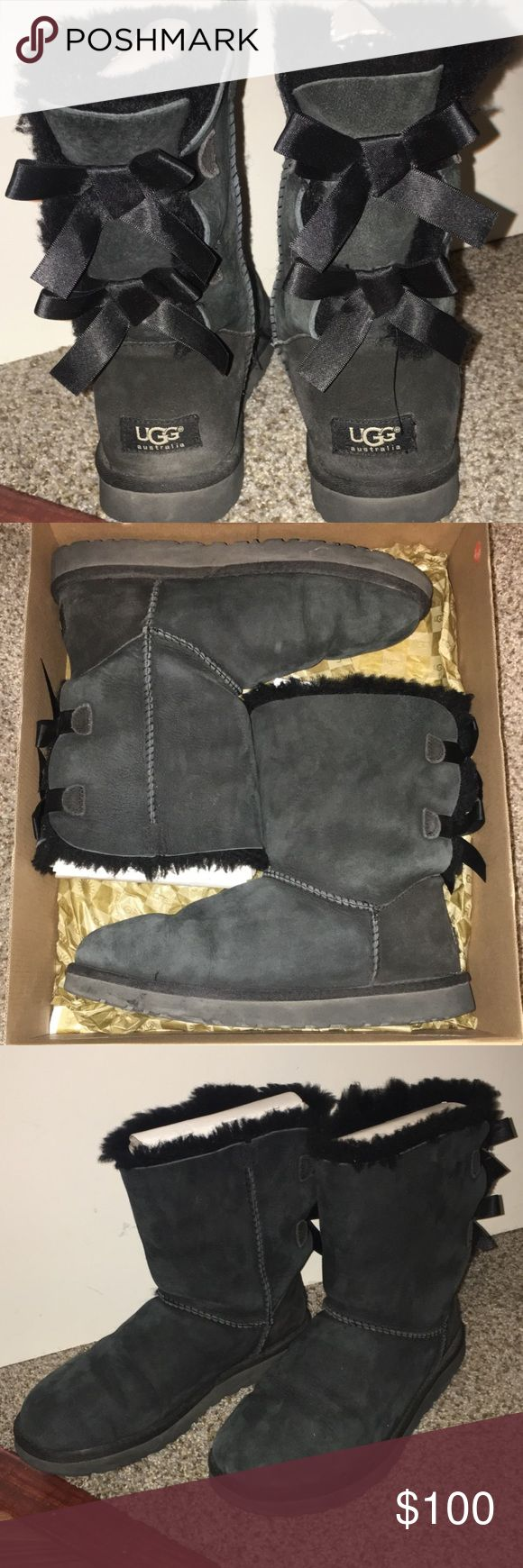 Black UGG Bailey Bow Boots VERY GOOD CONDITION, have been stored in box w/ shoe forms. Wore them a couple years ago, but haven't taken them out of the box since. Open to offers. UGG Shoes Winter & Rain Boots