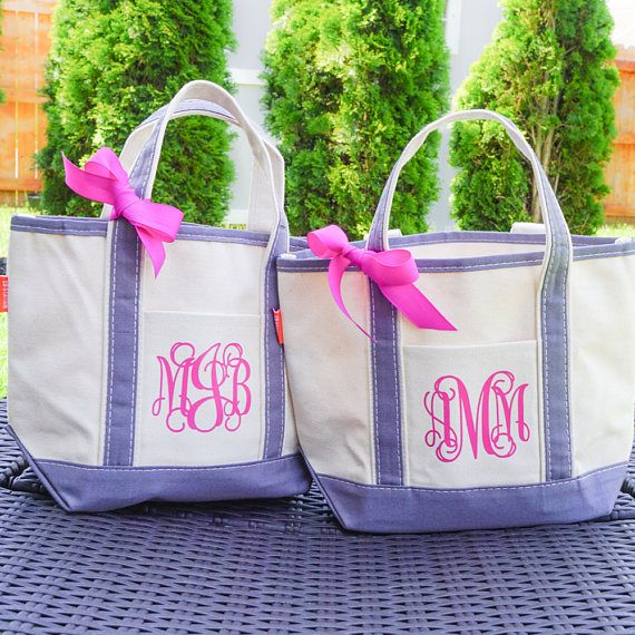 Monogrammed Easter Basket II This is a smaller boat tote that is the perfect size for a reusable gift bag, your wedding day essentials or a lunch bag. It can be used time and again. Click through to our Etsy shop to see the tote bag color and monogram options. #giftidea #giftsforher #motherofthebride #totebag