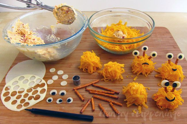 Hungry Happenings: Halloween Food - Mini Monster Cheese Balls and Cake Ball Monsters too.