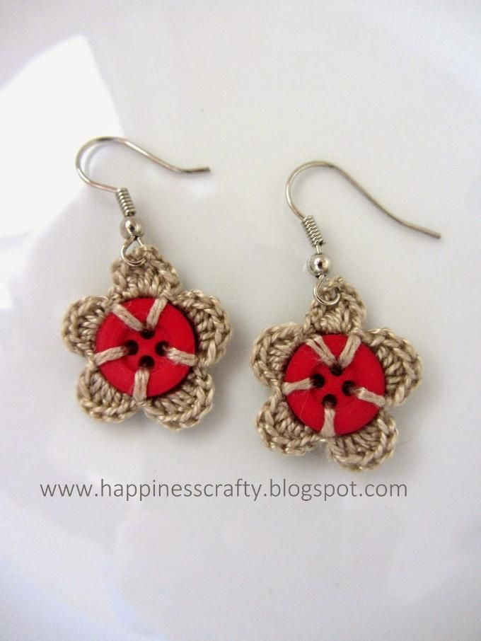 Crochet Button Earrings