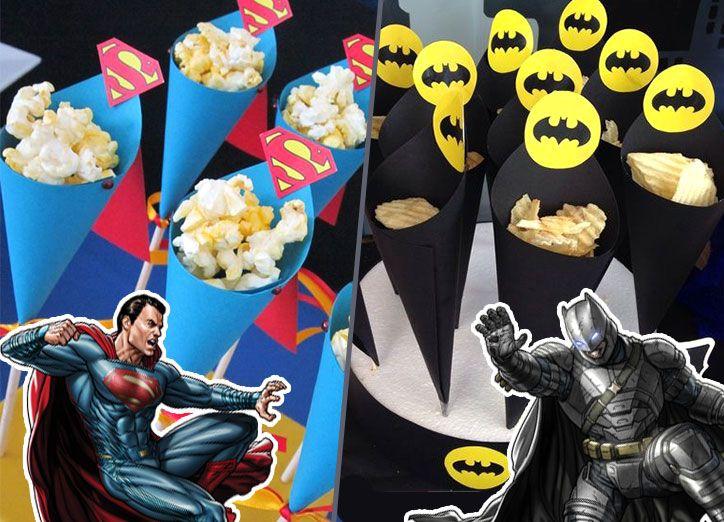 Cornets des Super-Héros : Batman et Superman pour y mettre du popcorn, des chips, bonbons ou chocolat