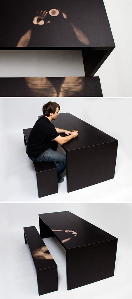 """""""Linger A Little Longer"""" Table by Jay Watson, uses a thermochromic finish to respond to the heat of objects and people, bringing to light the impact of the user on his furniture."""