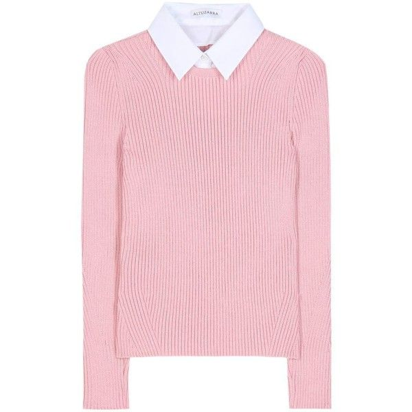 Altuzarra Rider Merino Wool Sweater ($865) ❤ liked on Polyvore featuring tops, sweaters, pink, pink top, pink sweater, merino sweater, merino top and merino wool sweater