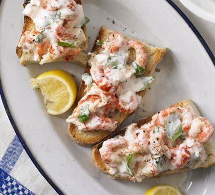 Crayfish tails on toast