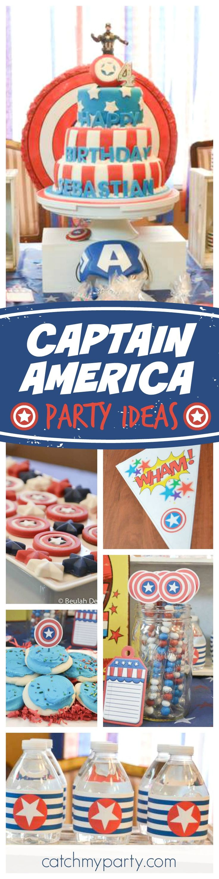 Check out this awesome Captain America birthday party. The birthday cake is so cool! See more party ideas and share yours at CatchMyParty.com