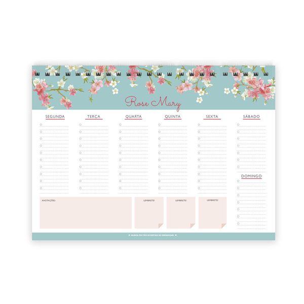 Planner de Mesa Memories Organizador diário com visão semanal em bloco com 52…
