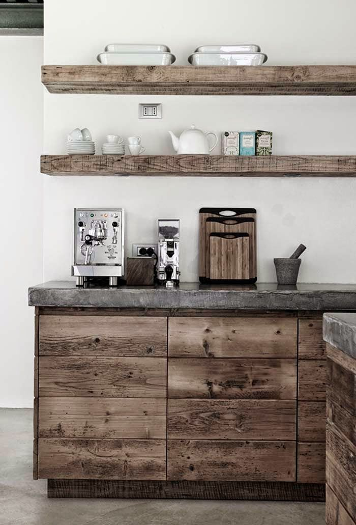 What a beautiful, rustic look. This can be achieved with rough cut pine and the right stain application. The concrete top, on the other hand, is best left to professionals. www.kbchome.ca