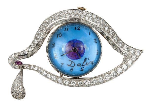 'The Eye of Life', a platinum, diamond and enamel combined watch and brooch by Salvador Dalí, made by Alemany & Ertman in 1949. (Dreweatts via The Times)
