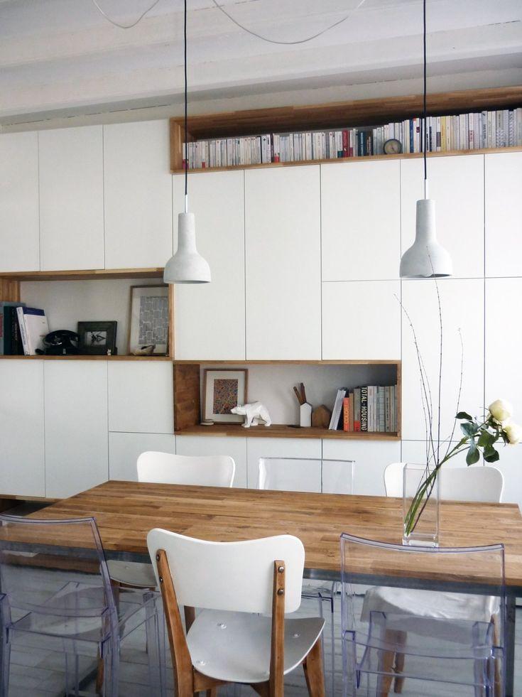 mur rangements blanc bois scandinave - Éléments de cuisine hauts Metod Ikea