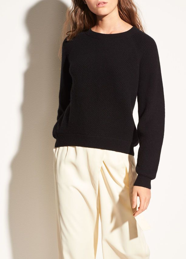 Diagonal Rib Wool and Cashmere Crew for Women | Vince