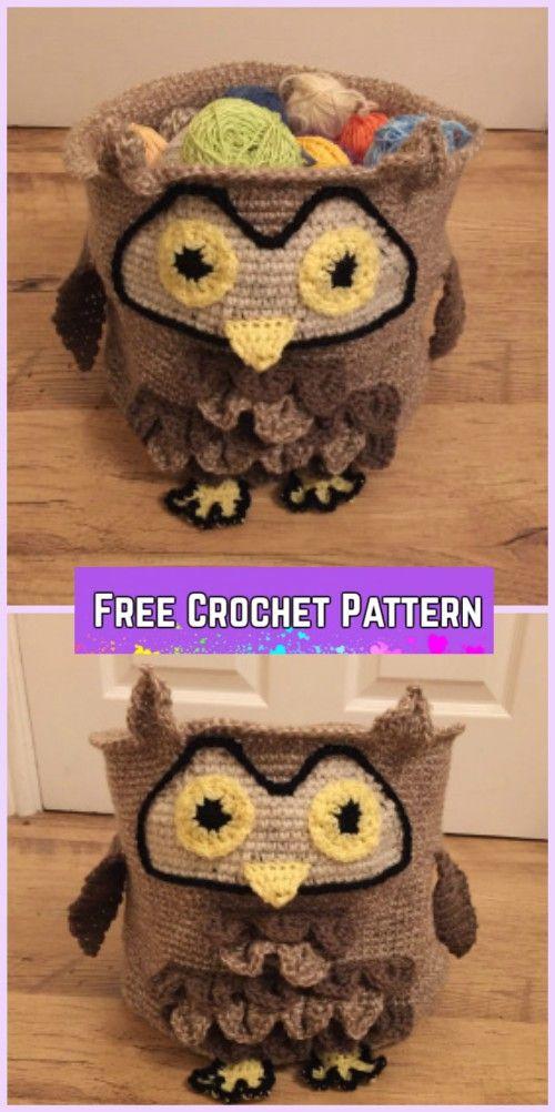 Crochet Owl Basket Free Patterns - Crochet Owl storage Basket Free Pattern