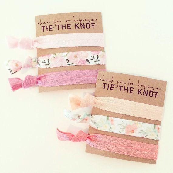 Hair Tie Bridesmaid Gift // Coral Peach Floral by LoveMiaKids