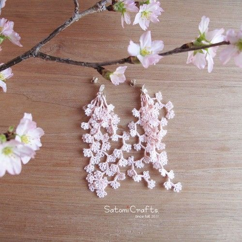 《受注製作》Pierces, Tatting Jewelry Flower strings_sakura