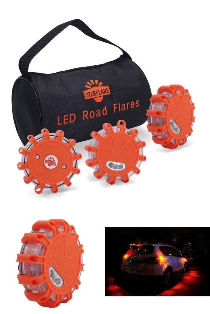 LED Road Flares Emergency Disc Red Light Flashing w/ Storage Bag and Batteries #StarFlare