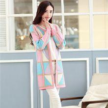 2015 новый женский весна свитера дамы широкий сладкий плед цвет средней длины блока свитер кардиган осенняя одежда 3 цветов(China (Mainland))