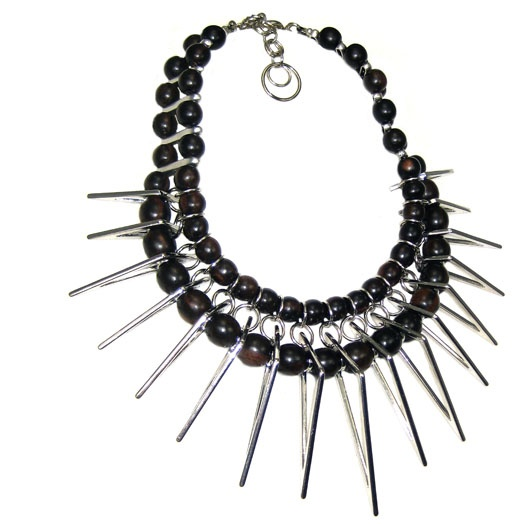 Jewellery by Karen wood and metal spike necklace. Details: http://jewellerybykaren.com/boutique/necklaces/necklace-1057n