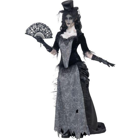 Zwarte weduwe Halloween kostuum. Compleet kostuum van de geest van de zwarte weduwe. Het spook kostuum is grijs met zwart, inclusief top, rok en hoed.