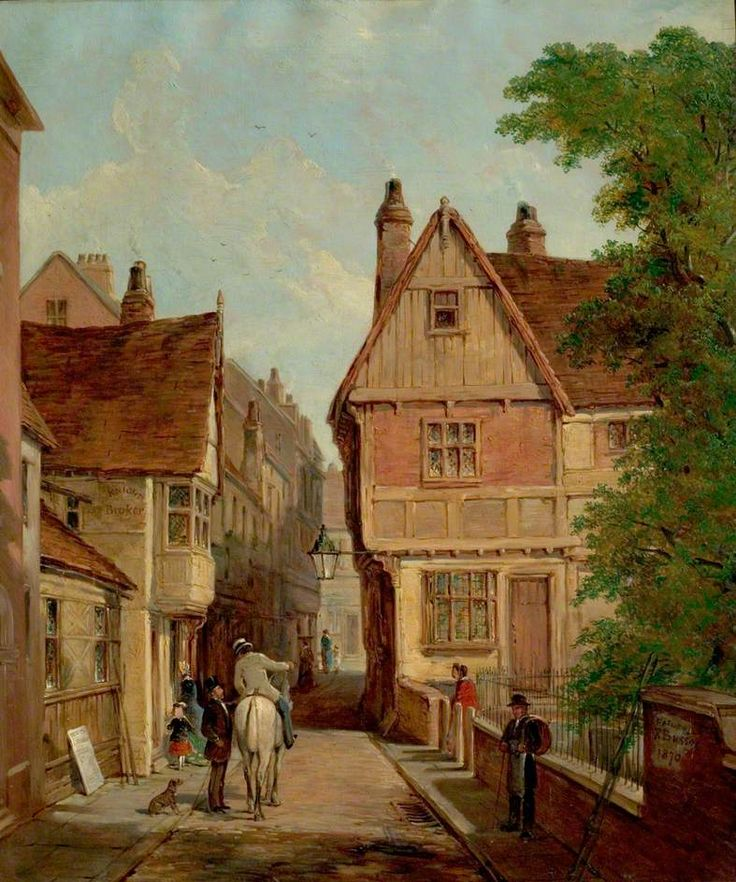Old Houses, St Peter's Gate, Nottingham, 1842  by Reuben Bussey