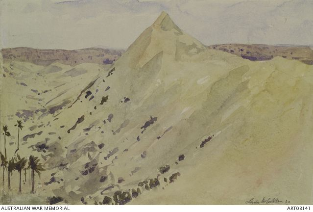 Mount Meredith, Romani, Egypt. Watercolour sketch by Louis McCubbin in 1920.