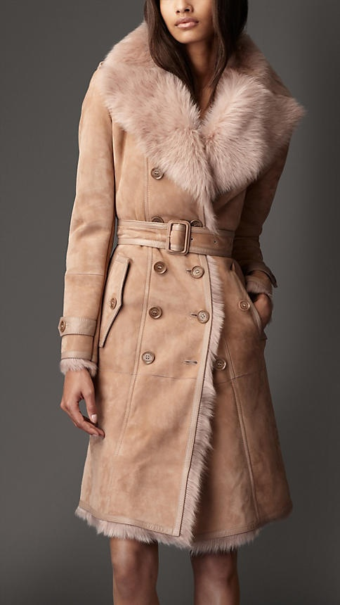 Burberry long shearling trench