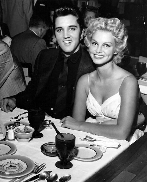 Vintage Las Vegas - Elvis Presley and showgirl girlfriend Dottie Harmony at the Sahara Hotel's Congo Room.  She is gorgeous!
