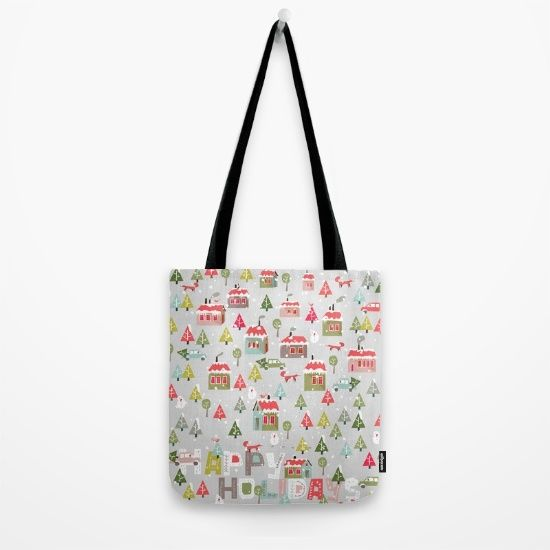 Happy Holidays Pattern Tote Bag