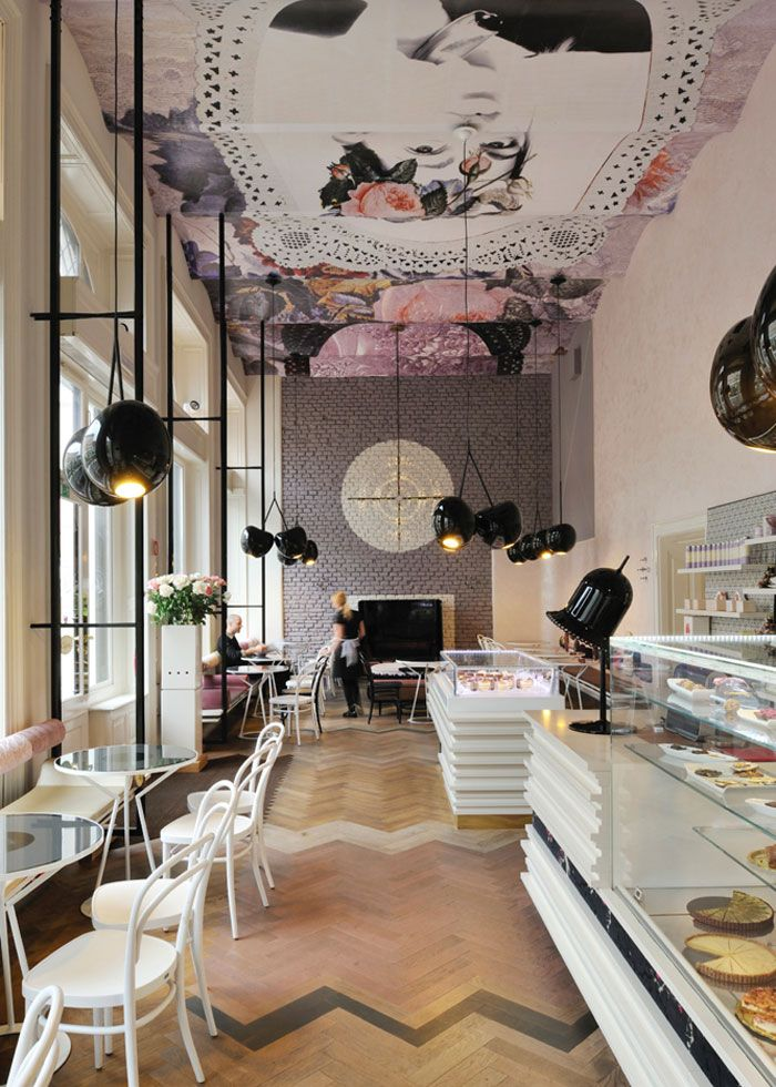 An interesting interior from Slovenia's capital Ljubljana - Designed by Trije Arhitekti, Lolita Cafe was completed in 2011, and this year it was nominated for Best International Interior in the Restaurant & Bar Design Awards.  This look is such a perfect fit for macaroons and fancy cakes sold at the cafe.