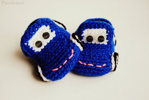 Baby Booties, Free shipping, Crochet Cars Baby Booties (Saxe Blue)