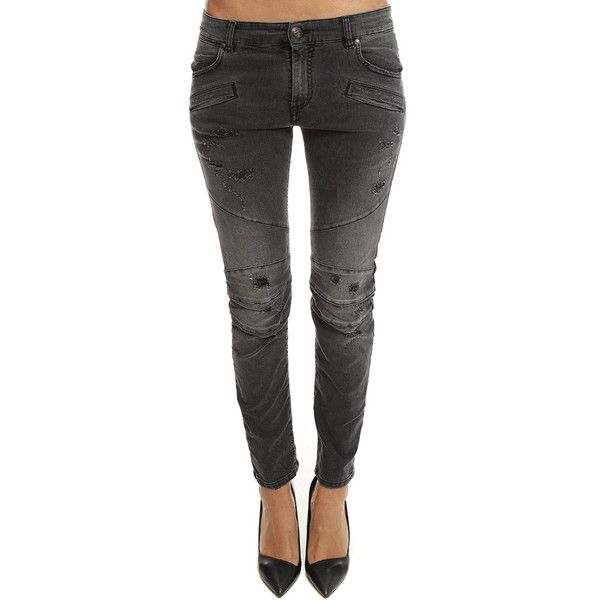 Pierre Balmain Moto Jean ($595) ❤ liked on Polyvore featuring jeans, women, pierre balmain jeans, torn jeans, distressing jeans, black ripped jeans and rocker jeans