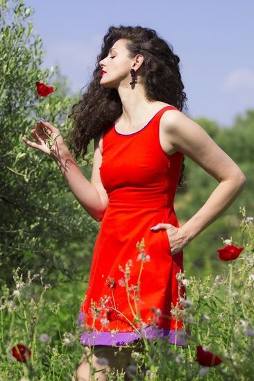 What is more more powerful than flowers during the Spring?! I matched with them in this red mini cocktail dress. #kenzopoppyday #reddress #poppies #flowerpower #minidress #cocktaildress #colorblock #summerdress #shopthelook #SpringStyle