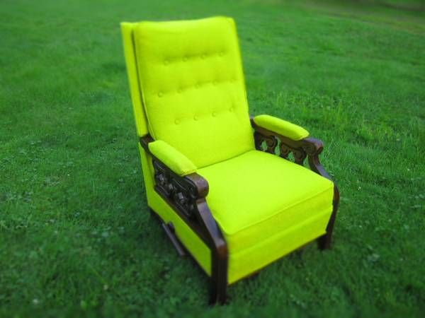 Vintage Lime Green Lay Z Boy Recliner With Wood Arms
