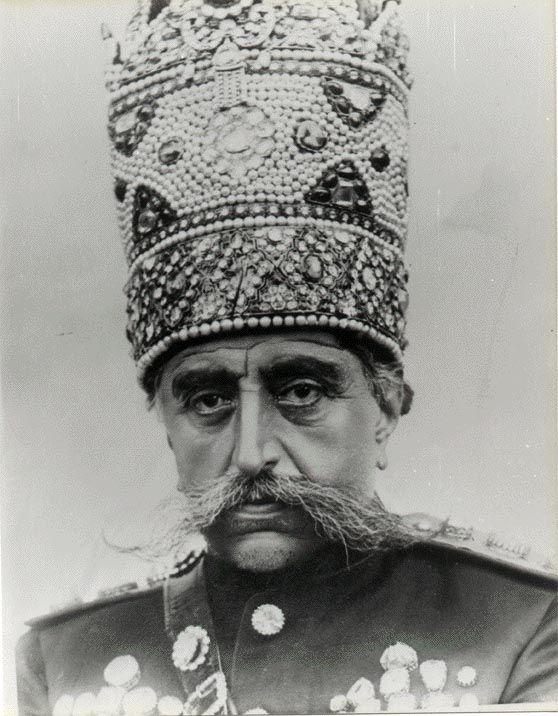 Bejeweled #Persia - Historic Jewelry From The Qajar Dynasty, blog by Reena Ahluwalia. #HistoricJewelry  Mozaffar ad-Din Shah Qajar wearing his pearl Kiani crown. He was the 5th Shah of Qajar Dynasty and ruled between 1896-1907. Image: Unknown, Via Wikiedia