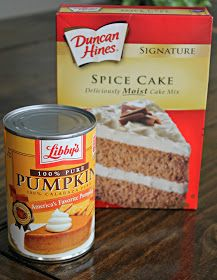 Easy Pumpkin Bread: 1 can Pure Pumpkin 1 box Duncan Hines Spice Cake Mix LIBBY ON THE LABEL