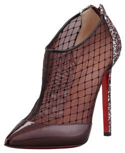 Christian Louboutin Red Leather Mesh Red, Black Boots