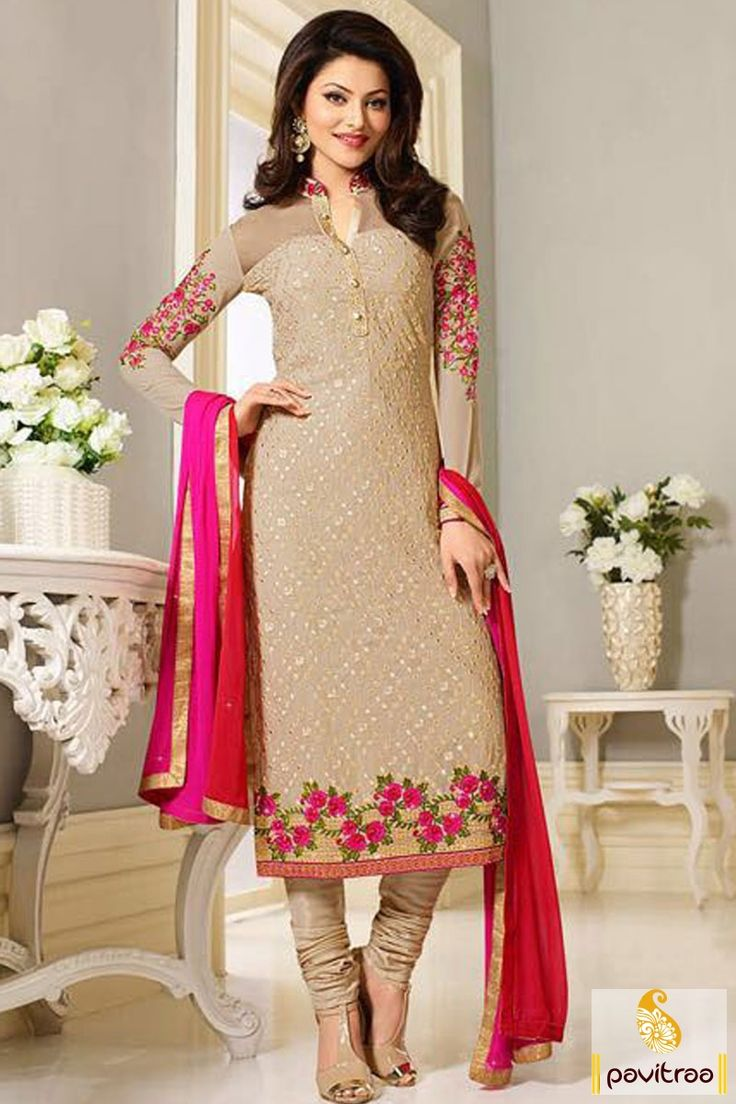 Bollywood Actress Urvashi Rautela Cream Designer Salwar -8365