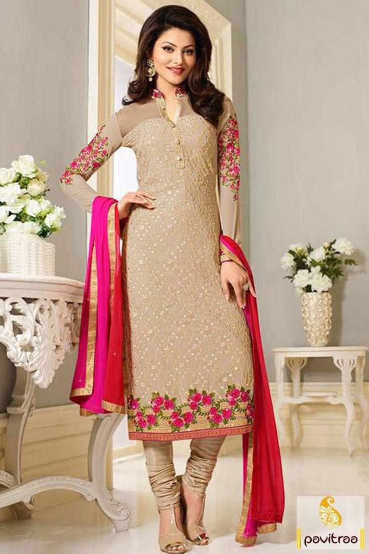 Bollywood Actress Urvashi Rautela #Cream Designer Salwar Kameez…