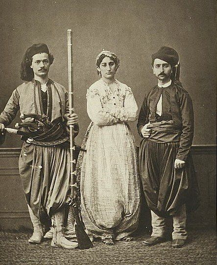 Studio Portrait - 1) Middle-class Christian of Hania (Chania) Crete; 2) Christian Horseman of Hania; and 3) married Muslim Woman of Hania - 1873