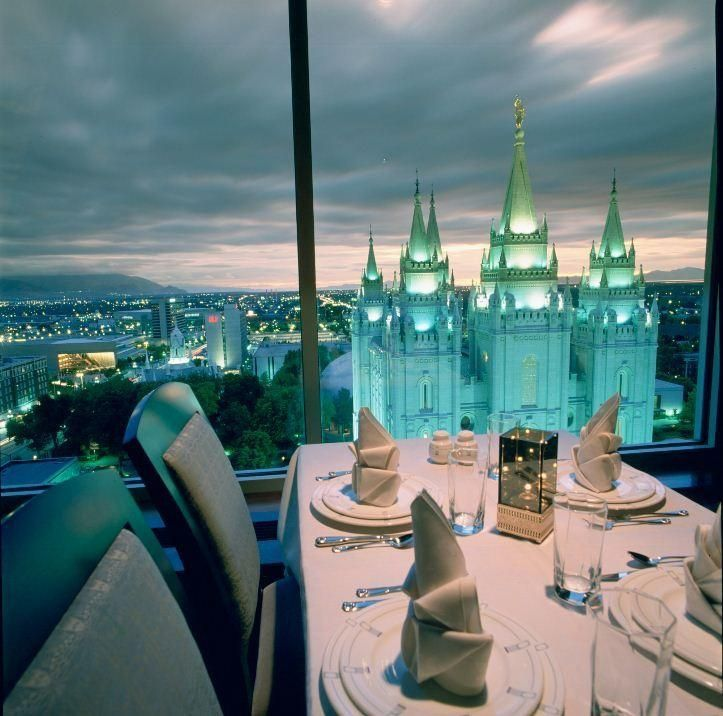 The Roof Restaurant in Salt Lake City, Utah.  A dinner buffet featuring excellent food and uncompromised views.  All made up for the fact that I could not order a glass of wine.  My fault, I should have known given the address of Temple Square.